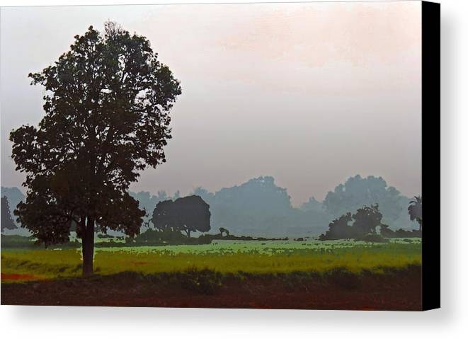 Interesting Canvas Print featuring the photograph Mhow Dawn Shapes by Kantilal Patel