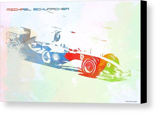 Michael Schumacher Canvas Print featuring the painting Michael Schumacher by Naxart Studio