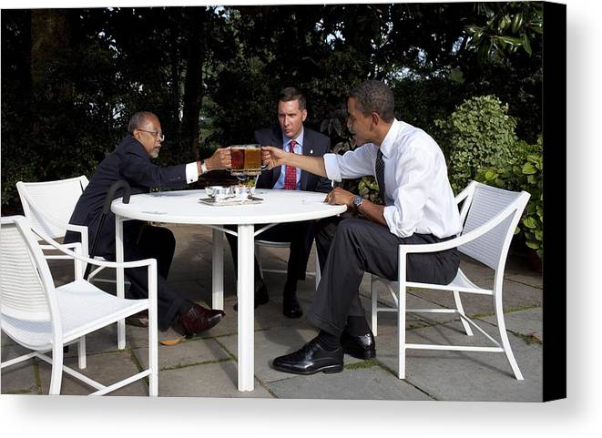 History Canvas Print featuring the photograph President Obama Professor Henry Louis by Everett