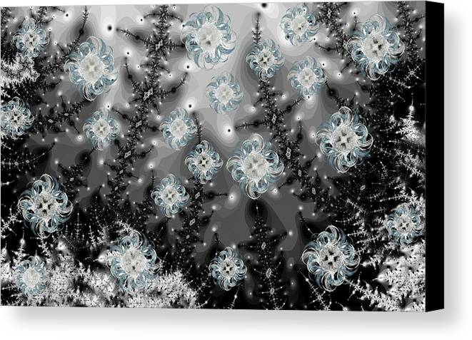 Fractal Canvas Print featuring the digital art Snowy Night I Fractal by Betsy Knapp
