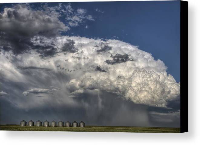Prairie Canvas Print featuring the photograph Storm Clouds Thunderhead by Mark Duffy