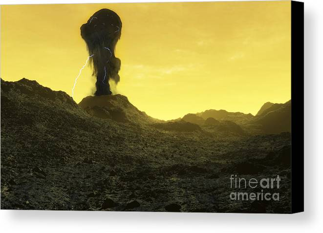 Venus Canvas Print featuring the digital art The Surface Of An Infernal Planet by Fahad Sulehria