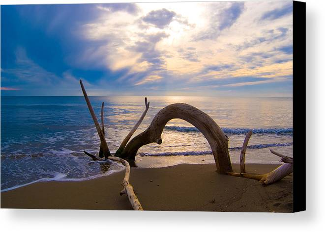 Driftwood Sea Mediterranean Sunset Sky Cloud Water Calm Serenity Canvas Print featuring the photograph The Wooden Arch by Marco Busoni