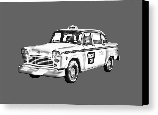 Checkered Cab Canvas Print featuring the photograph Checkered Taxi Cab Illustrastion by Keith Webber Jr
