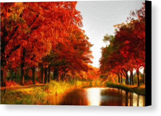 Color Canvas Print featuring the digital art Landscape Scene by Usa Map