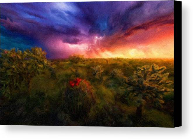 Landscape Canvas Print featuring the digital art Oil Painting Landscape Pictures by Usa Map