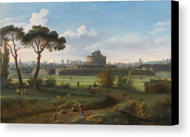 Gaspar Van Wittel Canvas Print featuring the painting A View Of The Castel Sant'angelo by Gaspar van