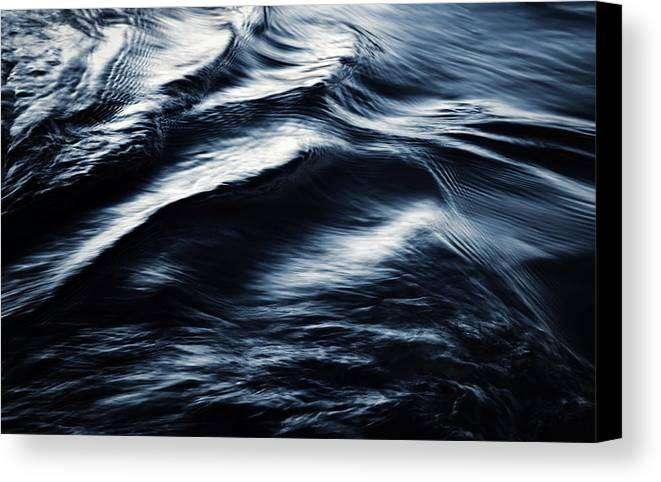 Black Canvas Print featuring the photograph Abstract Dark Blurred Ripples by Jozef Jankola