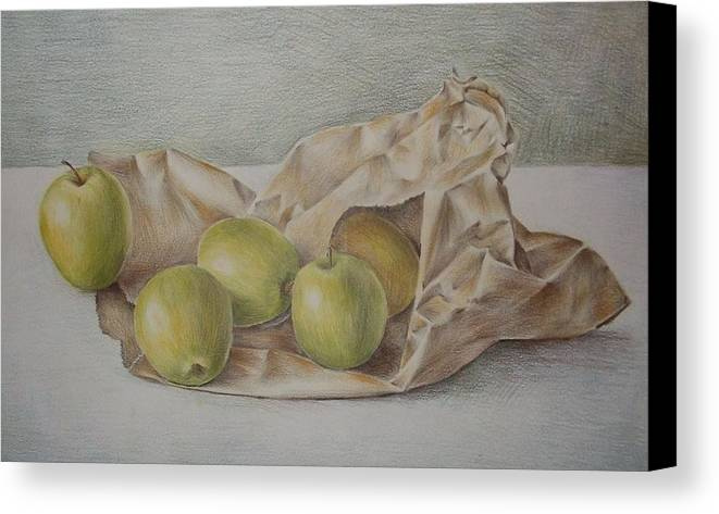 Drawing Canvas Print featuring the drawing Apples In A Paper Bag by Jubamo