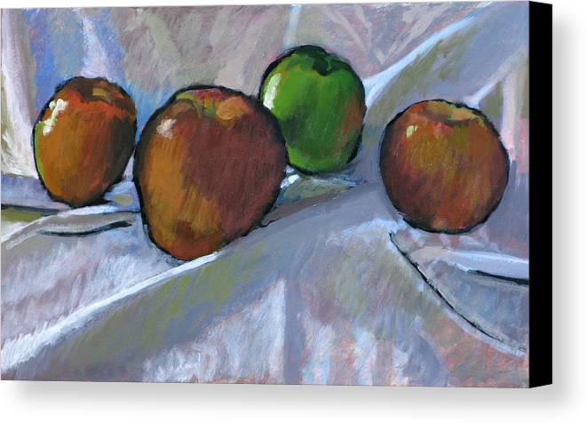 Apple Canvas Print featuring the painting Apples On Cloth by Robert Bissett