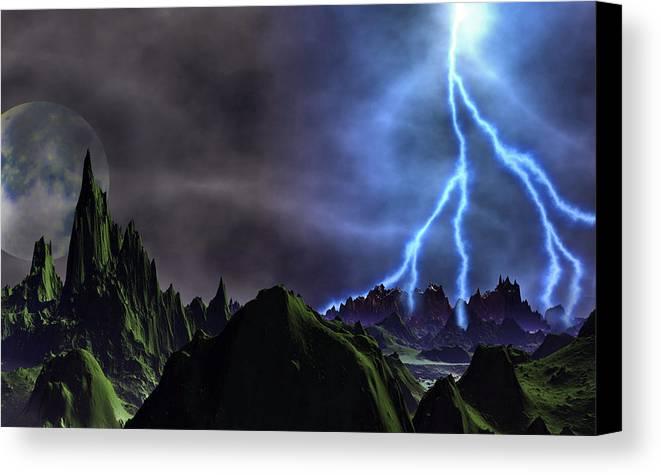 David Jackson Approaching Storm Venus Alien Landscape Planets Scifi Canvas Print featuring the digital art Approaching Storm by David Jackson