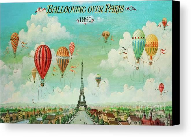 Ballooning Over Paris, Hot Air Balloon Eiffel Tower Canvas Print ...