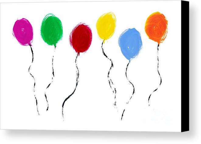 Painted Balloons Canvas Print featuring the painting Balloons by Tim Gainey