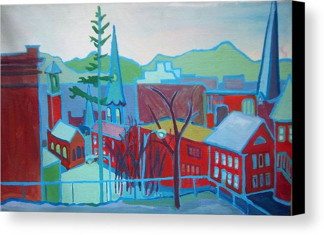 Burlington Canvas Print featuring the painting Blue Burlington by Debra Bretton Robinson