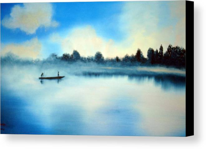 Blue Canvas Print featuring the painting Blue Lagoon by SueEllen Cowan