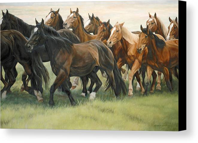 Michelle Grant Canvas Print featuring the painting Bottleneck by JQ Licensing