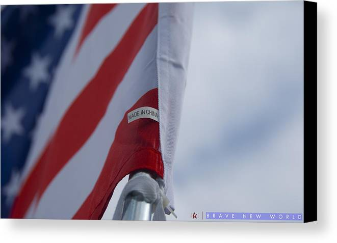 American Flag Canvas Print featuring the photograph Brave New World by Jonathan Ellis Keys