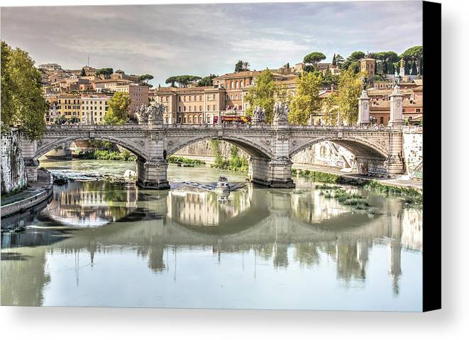 Walking Canvas Print featuring the photograph Bridge Over The River Tevere, Rome, Italy by Sanchez PhotoArt