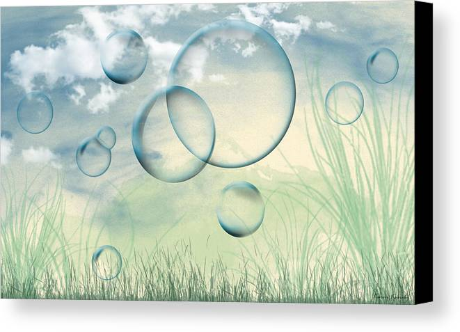Bubbles Canvas Print featuring the digital art Bubbles by Karen Kanaby