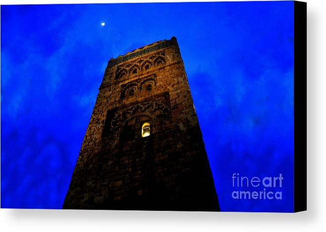 Castle Canvas Print featuring the painting Burning The Midnight Oil by David Lee Thompson