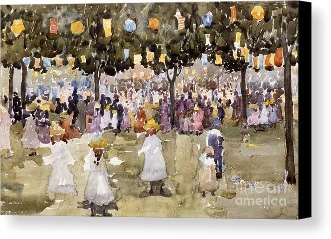 Central Park; Park; New York; Manhattan; Outdoors; Celebration; Summer; Summertime; Seasons; Independence Day; 4th July; Children; Lanterns; Decorations; Festive; Crowd; Crowds; Sketch; Atmospheric Canvas Print featuring the painting Central Park New York City July Fourth by Maurice Prendergast