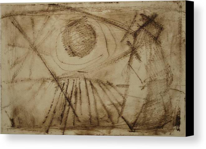 Etching Canvas Print featuring the drawing Cosmic Directive by Stephen Hawks