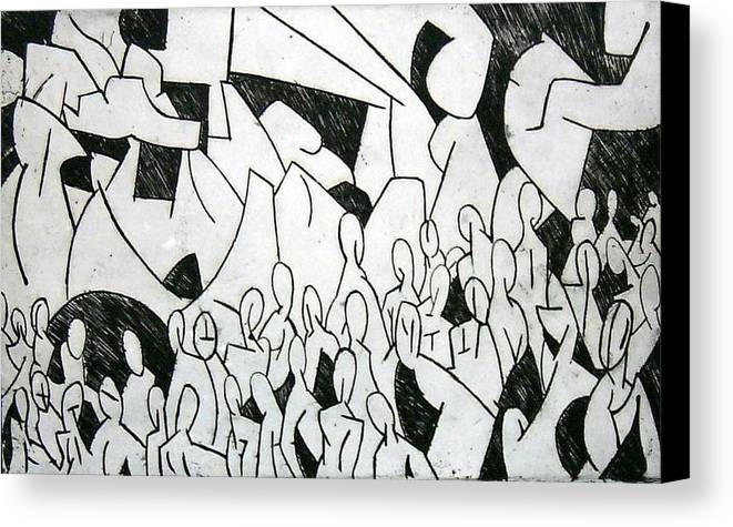Etching Canvas Print featuring the print Crowd by Thomas Valentine