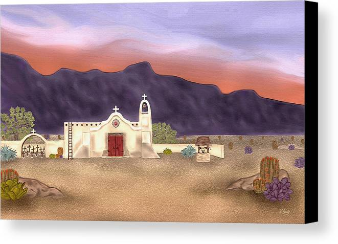 Southwestern Desert Landscape Christian Church Catholic Mission Cross Sunset Mountains Gordon Beck Canvas Print featuring the painting Desert Mission by Gordon Beck