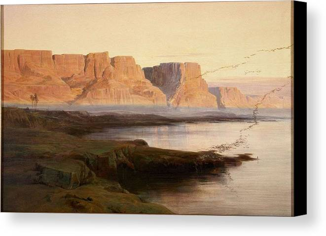 Nature Canvas Print featuring the painting Edward Lear The Rocks At Kasr Es Saad by Edward Lear