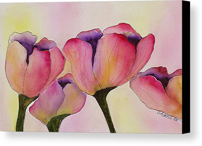 Tulips Canvas Print featuring the print Elegant Tulips by Mary Gaines