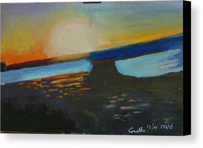Seashore Canvas Print featuring the painting Flaming Sunset  by Harris Gulko