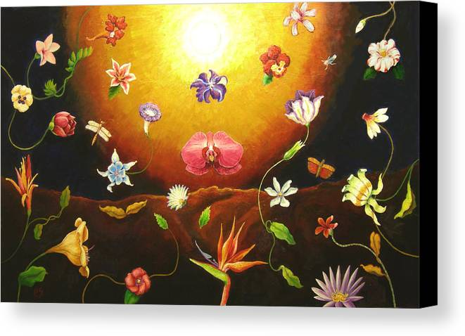 Canvas Print featuring the painting Flor Nocturna by Paul Sierra