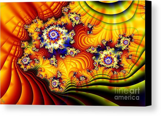 Furrows Canvas Print featuring the digital art Fractal Furrows by Ron Bissett