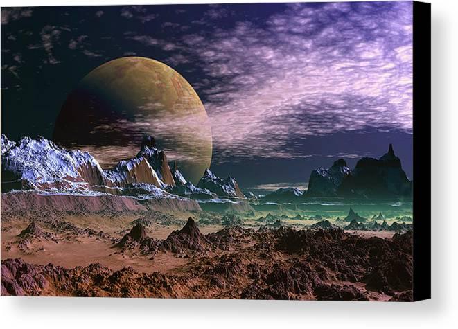 David Jackson Great Moona Alien Landscape Planets Scifi Canvas Print featuring the digital art Great Moona. by David Jackson