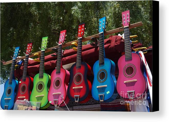 Guitars Canvas Print featuring the photograph Guitars In Old Town San Diego by Anna Lisa Yoder