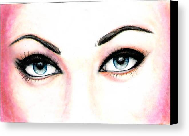 Eyes Canvas Print featuring the drawing I See You by Scarlett Royal