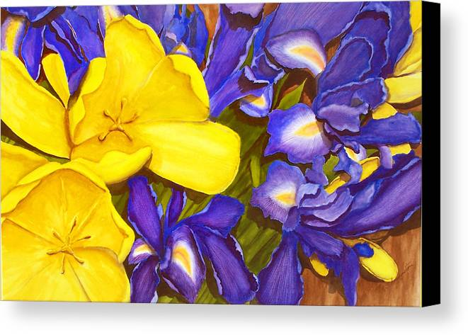 Watercolor Canvas Print featuring the painting Iris Withtulip by Robert Thomaston