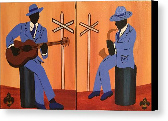 Musical Canvas Print featuring the painting Jammin At The Crossroads by Gilda Thomas