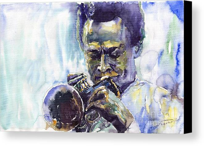 Jazz Miles Davis Music Musiciant Trumpeter Portret Canvas Print featuring the painting Jazz Miles Davis 10 by Yuriy Shevchuk