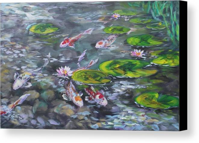 Koi Fish Lily Pad Pond Reeds Rocks Blue Green White Red Orange Water Waterscape Nature Canvas Print featuring the painting Koi Haven by Alan Scott Craig