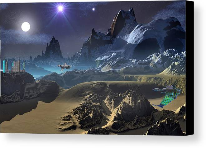David Jackson Krill City Stardock Alien Landscape Planets Scifi Canvas Print featuring the digital art Krill City Stardock. by David Jackson