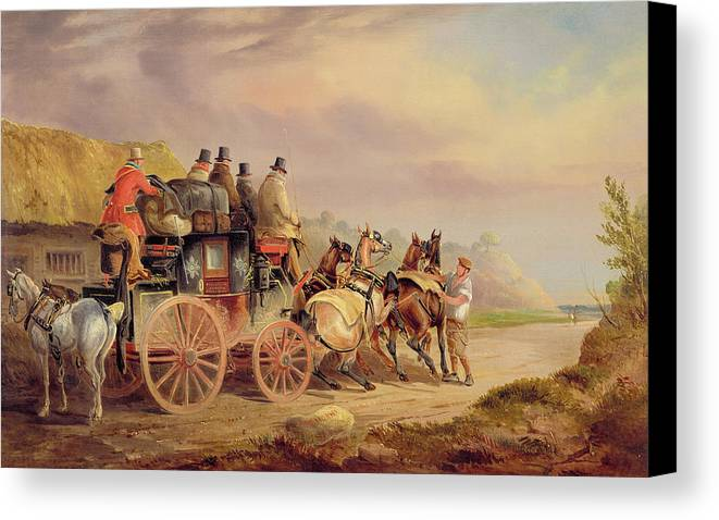 Mail Canvas Print featuring the painting Mail Coaches On The Road - The 'quicksilver' by Charles Cooper Henderson