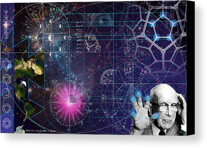 Buckminster Fuller Canvas Print featuring the digital art Metaphysical Gravity by Kenneth Armand Johnson