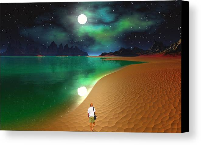 David Jackson Midnight Beach Walk - Sea Of Cortezz Alien Landscape Planets Scifi Canvas Print featuring the digital art Midnight Beach Walk - Sea Of Cortezz by David Jackson