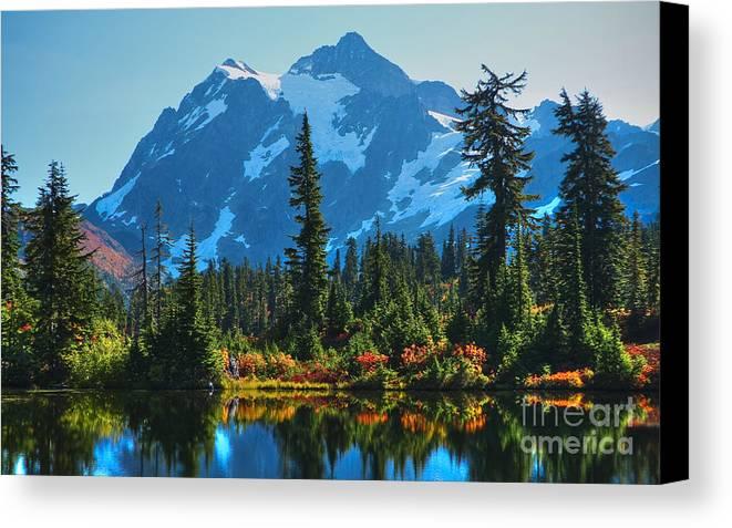 Mt. Shuksan Canvas Print featuring the photograph Mt. Shuksan by Idaho Scenic Images Linda Lantzy