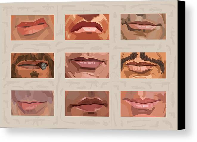 Stallone Schwarzenegger Canvas Print featuring the digital art Mystery Mouths Of The Action Genre by Mitch Frey