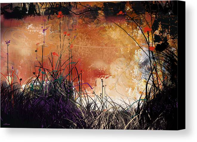 Landscape Canvas Print featuring the digital art Night Mirrors by Dale Witherow