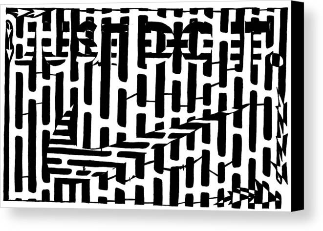 Just Do It Canvas Print featuring the drawing Nike Maze by Yonatan Frimer Maze Artist