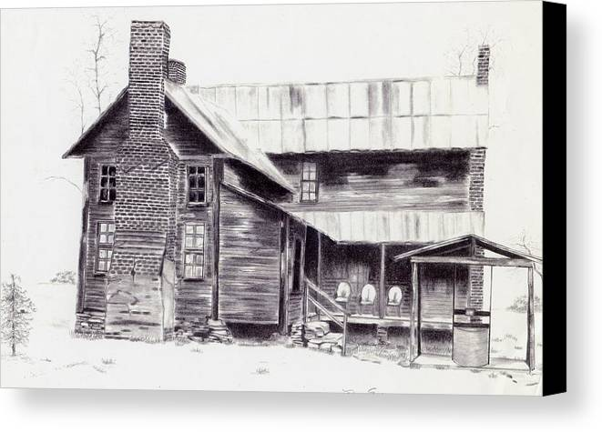 Landscape Canvas Print featuring the drawing Old Willard Home by Penny Everhart