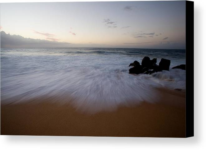 Water Canvas Print featuring the photograph Pacific Wave On Beach - Oahu by Brad Rickerby